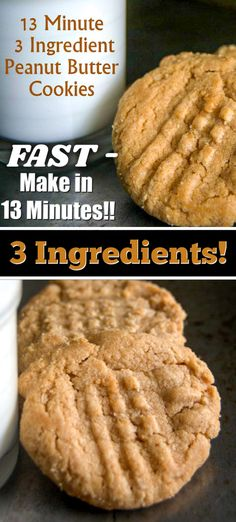 The 3 Ingredient 13 Minute Peanut Butter Cookies are not your typical peanut butter cookie. Theyre made with only 3 ingredients and are ready in just 13 minutes! Theyre the perfect thing to make when you need something sweet to eat! Chocolate Chip Shortbread Cookies, Toffee Cookies, Peanut Butter Cookies, Yummy Cookies, Quick Cookies, Cookies Soft, Chip Cookie Recipe, Cookie Recipes, Dessert Recipes