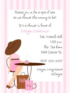 Invitations & Party Inspiration on Pinterest | Yellow Baby Showers ... : Baby Shower Tea Party Invitation Wording For Kids