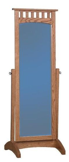 Amish Schwartz Mission Cheval Mirror Full length mirror made in solid wood. You can customize with wood and stain selection. Amish furniture for bedroom. #fulllengthmirror #mirror #bedroommirror