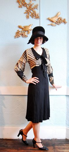 Vintage 1930s Dress  30s Dress  Black & Tan Art by concettascloset