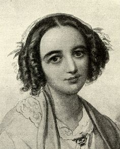 Fanny Mendelssohn, Felix's sister and a composer in her own right. Portrait by her husband Wilhelm Hensel.