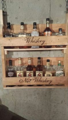 Pallet projects.  Rustic bar shelves.