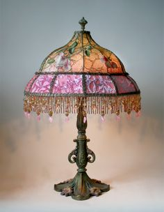 Detailed hand painted antique lamp base holds a hand dyed fuschia victorian shadowbox lampshade with french embroidery mozeypictures Gallery