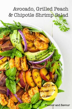 A summery dinner salad with bold flavours! This Avocado Grilled Peach Chipotle Shrimp Salad combines grilled sweet peaches, creamy avocado, spicy shrimp and smoky bacon, all on a bed of garden fresh greens. Topped with a peach dressing, this is summertime Paleo Recipes Easy, Avocado Recipes, Whole 30 Recipes, Clean Eating Recipes, Salad Recipes, Chipotle Recipes, Paleo Menu, Paleo Dinner, Top Recipes