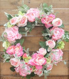Pink Peonies and Roses Wreath @ DaisyMaeBelle