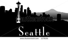 vector silhouette graphic depicting the Seattle skyline (black and white) by Robert F. Balazik, via ShutterStock