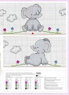 free baby elephant cross stitch pattern - Google Search