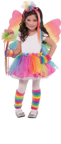 Get your little one fluttering around cloud nine with our Rainbow Fairy Costume! Rainbow Fairy Costume features sparkling wings and a tulle tutu. Little Girl Halloween Costumes, Fairy Costume Kids, Theme Halloween, Cute Costumes, Halloween Costumes For Girls, Halloween Kids, Costume For Girls, Fairy Princess Costume, Fairy Costumes