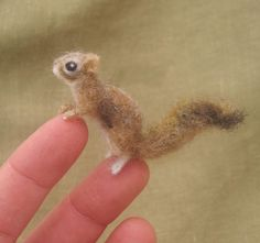 Miniature needle felted squirrel. $38.00, via Etsy.
