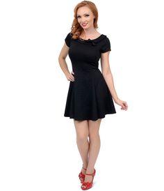 Black Damask Fit N Flare Short Sleeve Dress