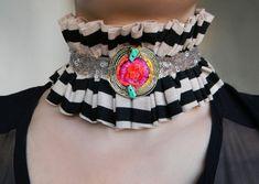 Striped Fabric Collar Ruffle Collar Clown Collar Neck by Elyseeart