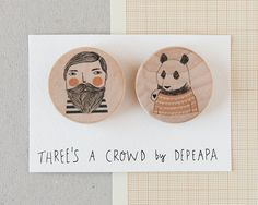 Bearded and Bear pack of illustrated wooden brooches by depeapa, $22.00