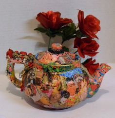 Teapot Frida Kahlo Sugar Skull Mexican Bohemian by OliviabyDesign, $38.00 #frida kahlo #bohemian Mexican art