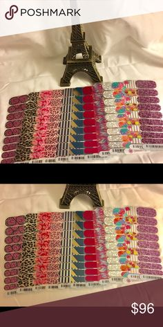 Jamberry nail wrap half sheets 12 half sheets of Jamberry nail wraps! $96 for ALL. From left to right: Butterfly Kisses, Gold Leopard, Carmen Ombré, Flirty Leopard, Cali Girl, Prince Charming, Fierce Fuchsia, Paint Party, Holographic, Punchy Puff, Waikiki, Savannah Sparkle. Jamberry Other