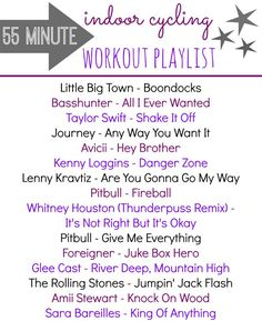 Spinning Class Playlist - A 55 minute workout playlist for your next indoor cycling class  #spinning #playlist #workoutplaylist