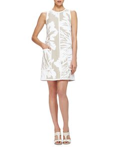 Carolina Herrera Floral-Print Linen Shift Dress