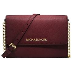 Pre-owned Michael Kors Jet Set Merlot Cell Phone/ Cross Body Bag ($120) ❤ liked on Polyvore featuring bags, handbags, shoulder bags, accessories, merlot, crossbody handbags, cell phone purse, red purse, michael kors and michael kors handbags
