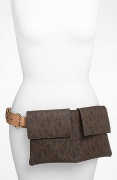 MICHAEL Michael Kors Perforated Belt Bag available at #Nordstrom $88 | Purchased! - it's not bad but it's not great. The belt stays well secured and the whole thing lays rather flat. Good buy for the price. I've even used it while biking.