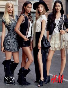 Daphne Groeneveld, Joan Smalls, Lindsey Wixson, and Liu Wen for H/M