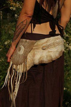 Gypsy Moon Felt Belt / Pixie Pocket in White Merino by SolMundoArt