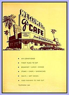 G's Cafe Vintage Restaurant Menu, Barstow CA