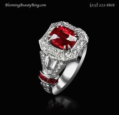 ct Cushion Cut Natural Burmese Ruby and Diamond Ring : Gemstone Engagement Rings l Blount Jewels Diamond Rings With Price, Ruby Diamond Rings, Diamond Jewelry, Gemstone Engagement Rings, Gemstone Rings, Right Hand Rings, Platinum Ring, Natural Ruby, Anniversary Rings