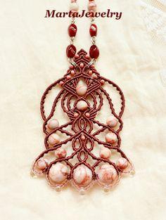 Bohemian macrame necklace micro-macrame jewelry by MartaJewelry