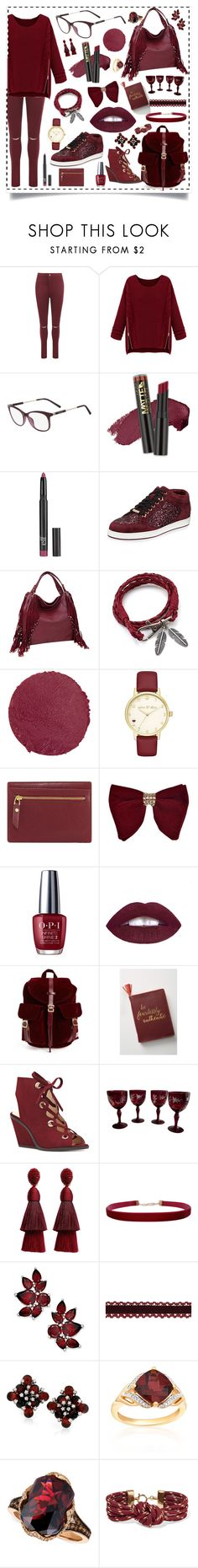 """Wine Red"" by truelyinspiredoutfits ❤ liked on Polyvore featuring WearAll, WithChic, L.A. Girl, Old Navy, Jimmy Choo, Dasein, Lipstick Queen, Kate Spade, Neiman Marcus and OPI"