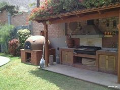 Possible cover for BBQ grill in place of wood grill shown here. Outdoor Rooms, Outdoor Gardens, Outdoor Living, Outdoor Decor, Pergola, Gazebo, Parrilla Exterior, Outdoor Oven, Summer Kitchen