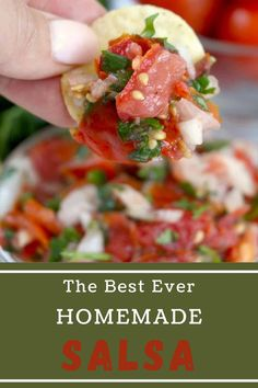 Fresh Homemade Salsa is easy and delicious. It is made with flavorful tomatoes, cilantro, onions, jalapeños, and garlic. #salsarecipe #homemadesalsa Fresh Tomato Recipes, Fresh Tomato Salsa, Yummy Appetizers, Appetizer Recipes, Party Recipes, Chips And Salsa, Homemade Salsa, Incredible Recipes, Salsa Recipe