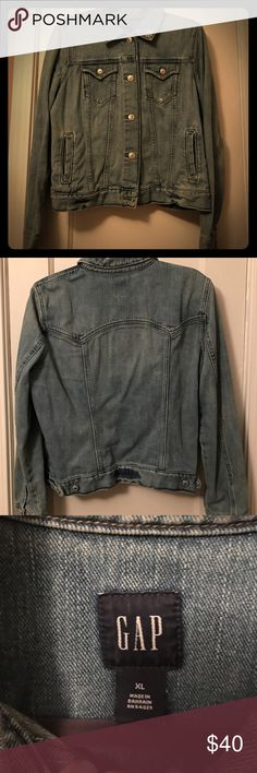 Gap Semi-Distressed Jean Jacket Lighter wash denim jacket from Gap.  Well made and I love it.  Unfortunately it doesn't fit me anymore! So sad to part with it!! GAP Jackets & Coats Jean Jackets