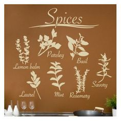 "Style and Apply Spices Wall Decal Size: 43"" H x 46"" W, Color: Gold"