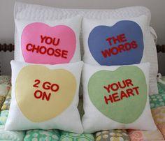 candy heart pillows