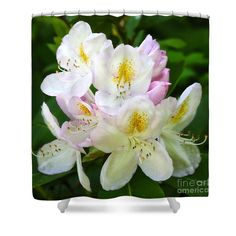 """Shower Curtain with a Nature Theme! 100% polyester fabric with 12 holes for hanging on your own rings.  71"""" wide and 74"""" tall. http://carol-groenen.pixels.com  #showercurtains #homedecor #natureshowercurtains #naturaldecor #showercurtain #naturally-themeddecor #naturedecor #beautifulshowercurtains #bathroomdecor #naturalbathroomdecor #rhododendrons"""