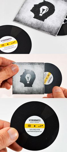 Interactive Vinyl Record Business Card For A Graphic Designer