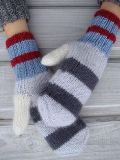 Gray striped gloves winter mittens women winter by RainbowMittens, $42.00