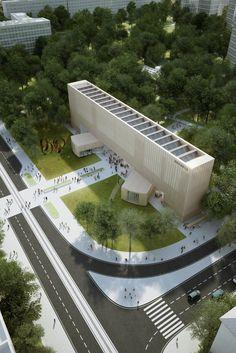 Penda propõe um novo Museu Bauhaus mutável,Render Vista Exterior. Imagem Cortesia de Penda