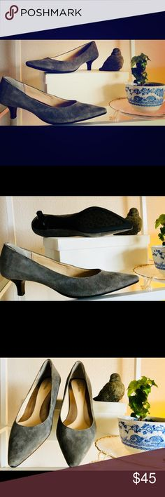 """Calvin Klein grey suede kitten heels Calvin Klein grey suede kitten heels. """"Shimmer kid suede"""" work once too tight for me. Love my 6s ultra comfortable all day wear for work. Calvin Klein Shoes Heels"""