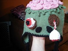 This is a fun pattern I designed for a great friend of mine who happens to be a big zombie fan. the construction of this hat is not for a beginer. The assembly takes time as well. but if you are a knowledgable knitter things will work up rather quickly. It is both knit and crochet. You will need knowledge of both crafts.