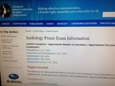 ASHA-Audiology Praxis Exam Information  Pinned by SOS Inc. Resources @sostherapy.