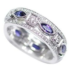 EACH RING IN 18KT WHITE GOLD .CENTER RING ALTERNATES SAPPHIRES AND DIAMONDS - See more at:   http://www.weddingrings.com/3%20STACKED%20RINGS/Vintage%20Style/20/10/707/item