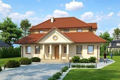 projekt Olchawa DM-6276 KRF1246 Home Fashion, House Plans, Villa, Mansions, House Styles, Home Decor, Projects, Decoration Home, Manor Houses