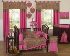 Amazon.com: Cheetah Animal print Pink and Brown Baby Girl Bedding 9pc Crib Set: Home & Kitchen