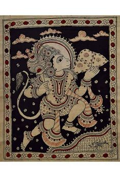 A lovely Kalamkari Indian painting of the monkey god Hanuman in a black frame. A traditional painting style from Andhra Pradesh in South India. Phad Painting, Indian Paintings, Art Paintings, Easy Paintings For Beginners, Kalamkari Designs, Kalamkari Painting, Madhubani Art, Indian Folk Art, Traditional Paintings