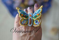 """Купить Сутажное кольцо """"Бабочка"""" - комбинированный, кольцо, кольцо ручной работы, украшение, подарок девушке"""