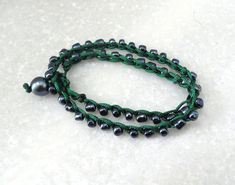 Macrame Beaded Bracelet with Black Lustered Glass Seed Beads, Double Wrap Beaded Bracelet