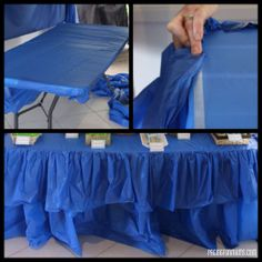 Cheap & Easy Party Table Ruffle! All you need is a roll of plastic table cloth & some double sided tape! Voila! We could do this for the gift table, food table, and head table to make them a bit fancier.
