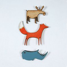 Fun and Vibrant wooden broochesThree wild animals availablePin a cute little wooden wild animal to your coat or jacket, these delightful wild animals will add flair to any outfit with their natural beauty. Would make the perfect small gift for animal lovers and anyone with a brooch obsession. Made with love from the fabulous Paper Tales team in South Africa.Laser cut etchings are on environmentally friendly Superwood, with a silver plated clasp on the reverse side.Moose: 4.5cm x 4cm Fox…