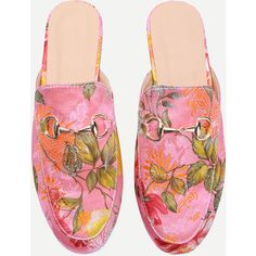 SheIn(sheinside) Pink Floral Embroidered Satin Loafer Slippers (€24) ❤ liked on Polyvore featuring shoes and slippers