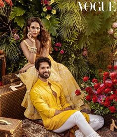 The latest B-town couple, Shahid Kapoor and Mira Kapoor graced the cover of Vogue India this month. The couple featured in Vogue Wedding Book. Vogue Photoshoot, Couple Photoshoot Poses, Pre Wedding Photoshoot, Wedding Poses, Wedding Dresses Men Indian, Wedding Dress Men, Wedding Book, Indian Wedding Photography Poses, Couple Photography Poses